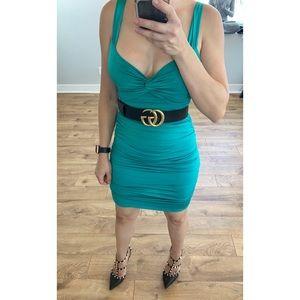 Sexy stretchy green dress